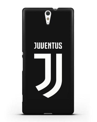 Чехол с логотипом и надписью Juventus силикон черный для Sony Xperia C5