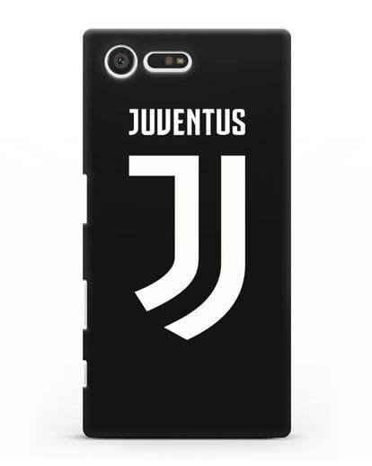Чехол с логотипом и надписью Juventus силикон черный для Sony Xperia X Compact