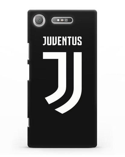 Чехол с логотипом и надписью Juventus силикон черный для Sony Xperia XZ1