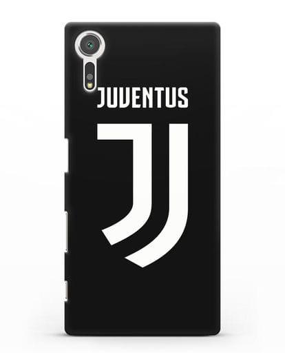 Чехол с логотипом и надписью Juventus силикон черный для Sony Xperia XZs