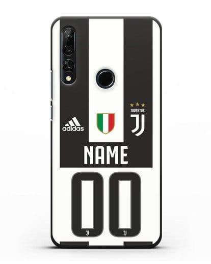 Именной чехол Ювентус с фамилией и номером (сезон 2018-2019) бело-черная форма силикон черный для Honor 9X