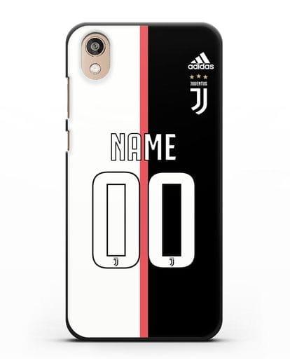 Именной чехол Ювентус с фамилией и номером (сезон 2019-2020) бело-черная форма силикон черный для Honor 8S