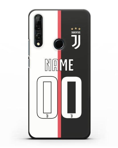 Именной чехол Ювентус с фамилией и номером (сезон 2019-2020) бело-черная форма силикон черный для Honor 9X