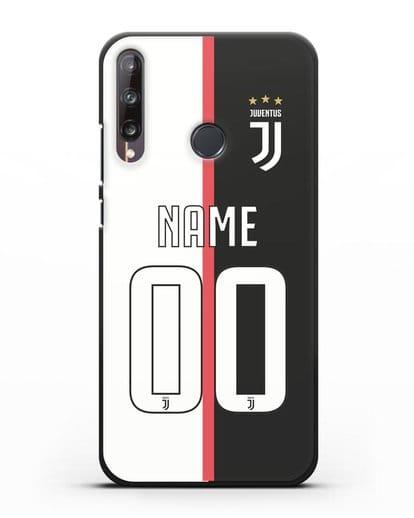 Именной чехол Ювентус с фамилией и номером (сезон 2019-2020) бело-черная форма силикон черный для Huawei P40 lite E