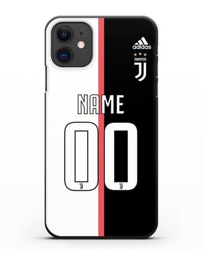 Именной чехол Ювентус с фамилией и номером (сезон 2019-2020) бело-черная форма силикон черный для iPhone 11