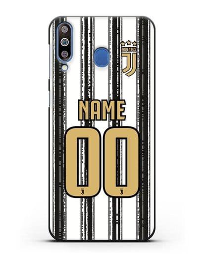 Именной чехол ФК Ювентус с фамилией и номером (сезон 2020-2021) домашняя форма силикон черный для Samsung Galaxy M30 [SM-M305F]