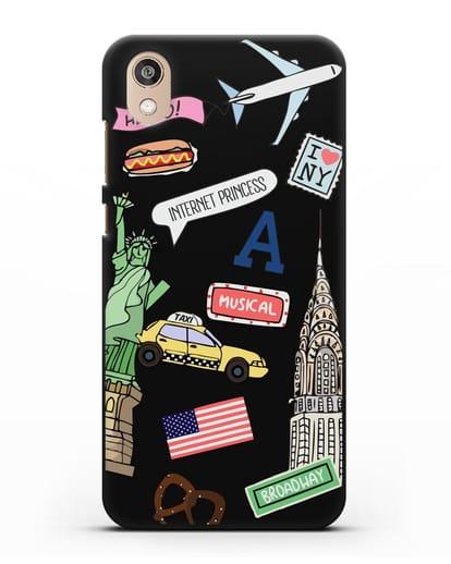 Чехол со стикерами Нью-Йорк, статуя Свободы, желтое такси силикон черный для Honor 8S