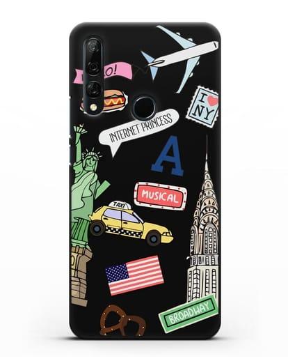 Чехол со стикерами Нью-Йорк, статуя Свободы, желтое такси силикон черный для Honor 9X