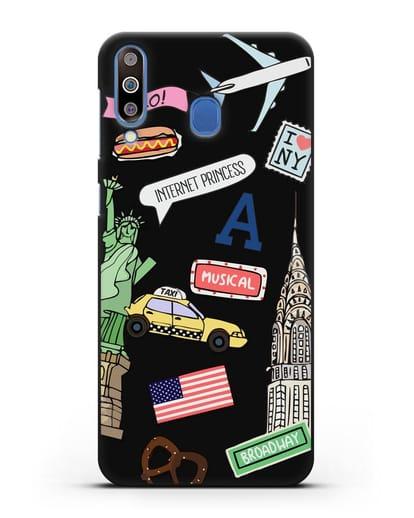 Чехол со стикерами Нью-Йорк, статуя Свободы, желтое такси силикон черный для Samsung Galaxy M30 [SM-M305F]