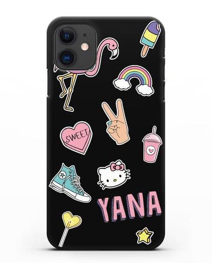Именной чехол со стикерами Розовый фламинго, радуга, смузи силикон черный для iPhone 11