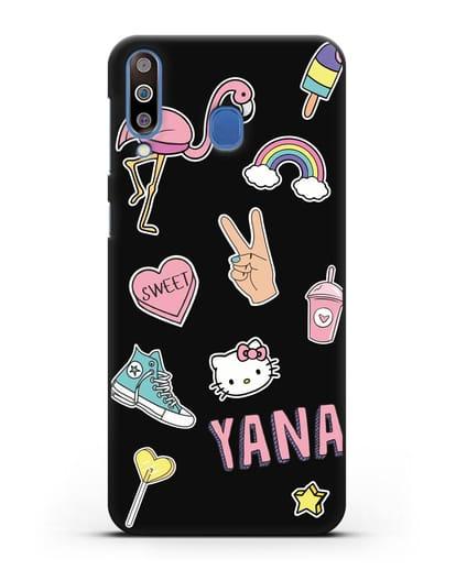 Именной чехол со стикерами Розовый фламинго, радуга, смузи силикон черный для Samsung Galaxy M30 [SM-M305F]