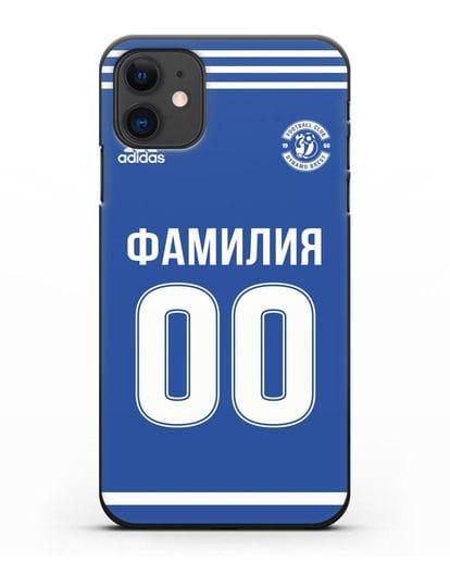 Именной чехол ФК Динамо Брест с фамилией и номером синяя форма силикон черный для iPhone 11