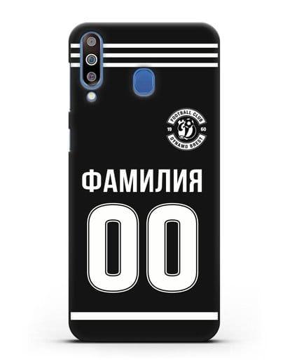 Именной чехол ФК Динамо Брест с фамилией и номером черная форма силикон черный для Samsung Galaxy M30 [SM-M305F]