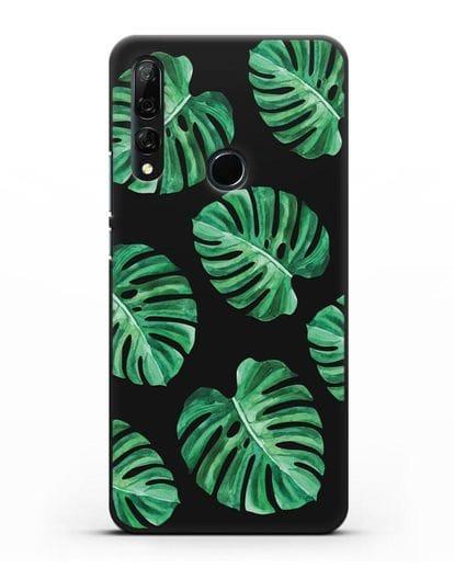 Чехол Тропические листья силикон черный для Honor 9X