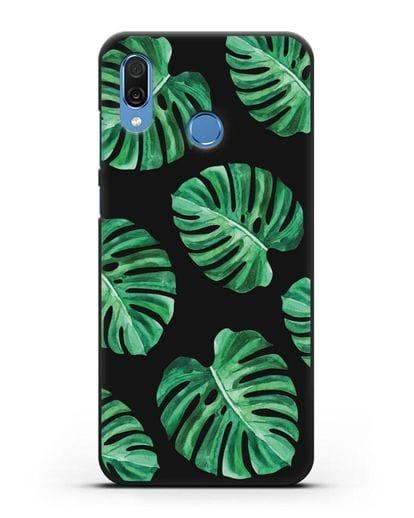 Чехол Тропические листья силикон черный для Honor Play