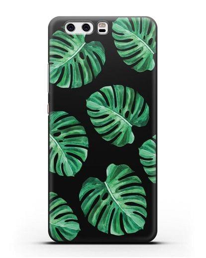 Чехол Тропические листья силикон черный для Huawei P10 Plus