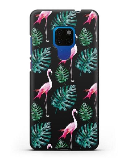 Чехол Карибский фламинго силикон черный для Huawei Mate 20