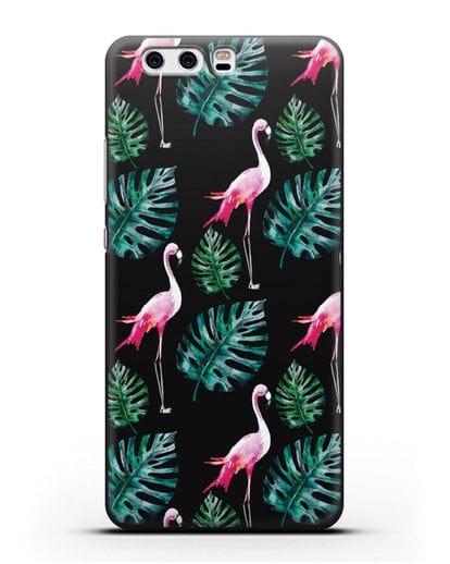 Чехол Карибский фламинго силикон черный для Huawei P10 Plus