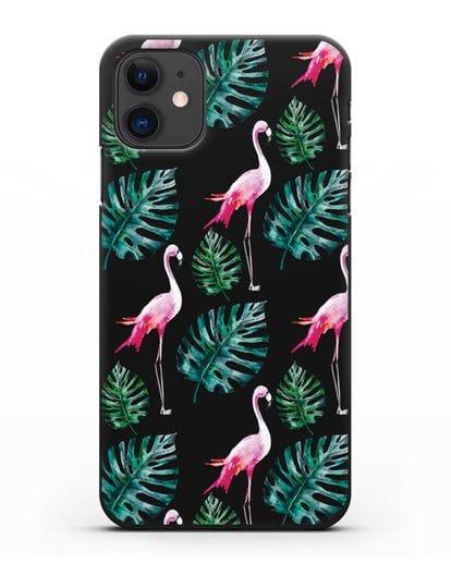 Чехол Карибский фламинго силикон черный для iPhone 11