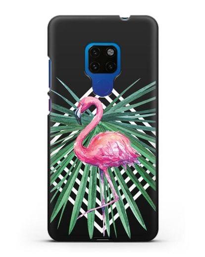 Чехол Розовый фламинго силикон черный для Huawei Mate 20
