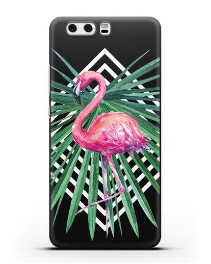 Чехол Розовый фламинго силикон черный для Huawei P10 Plus