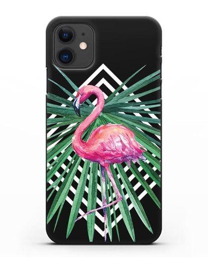 Чехол Розовый фламинго силикон черный для iPhone 11