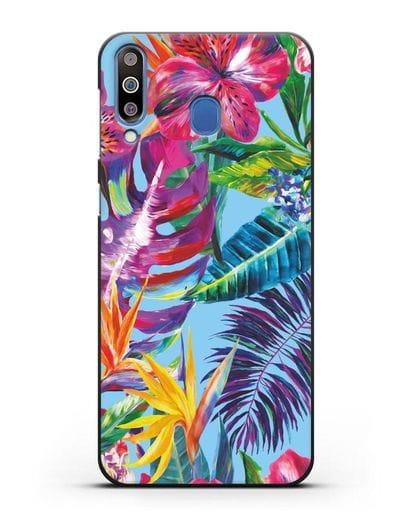 Чехол Летние грёзы силикон черный для Samsung Galaxy M30 [SM-M305F]