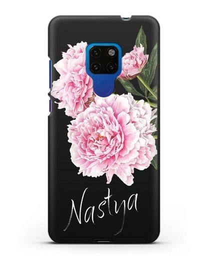 Именной чехол Розовые пионы силикон черный для Huawei Mate 20