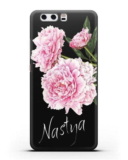 Именной чехол Розовые пионы силикон черный для Huawei P10 Plus