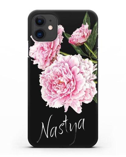 Именной чехол Розовые пионы силикон черный для iPhone 11