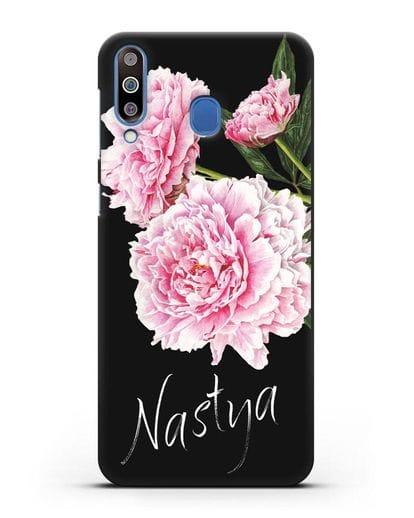 Именной чехол Розовые пионы силикон черный для Samsung Galaxy M30 [SM-M305F]