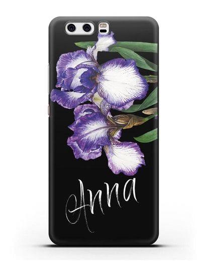 Именной чехол Ирисы силикон черный для Huawei P10 Plus