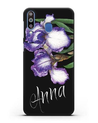 Именной чехол Ирисы силикон черный для Samsung Galaxy M30 [SM-M305F]