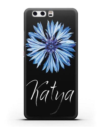 Именной чехол Василёк силикон черный для Huawei P10 Plus