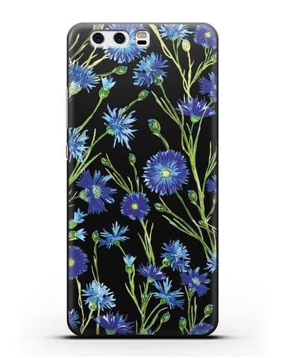 Чехол Васильки силикон черный для Huawei P10 Plus