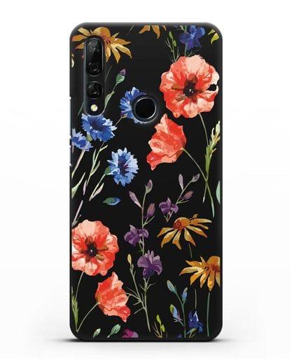 Чехол Полевые цветы силикон черный для Honor 9X