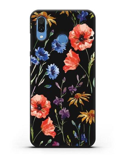 Чехол Полевые цветы силикон черный для Honor Play
