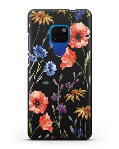 Чехол Полевые цветы силикон черный для Huawei Mate 20
