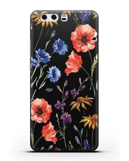 Чехол Полевые цветы силикон черный для Huawei P10 Plus