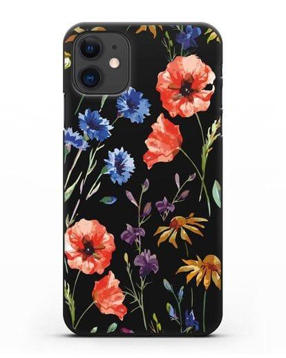 Чехол Полевые цветы силикон черный для iPhone 11
