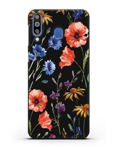 Чехол Полевые цветы силикон черный для Samsung Galaxy M30 [SM-M305F]