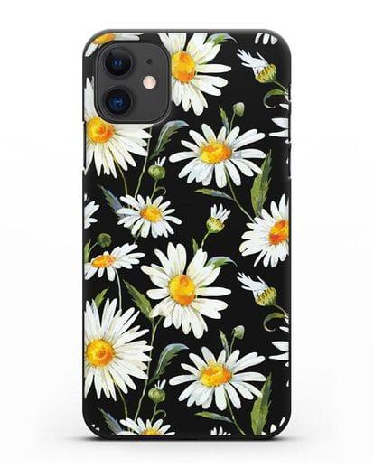 Чехол Ромашки силикон черный для iPhone 11