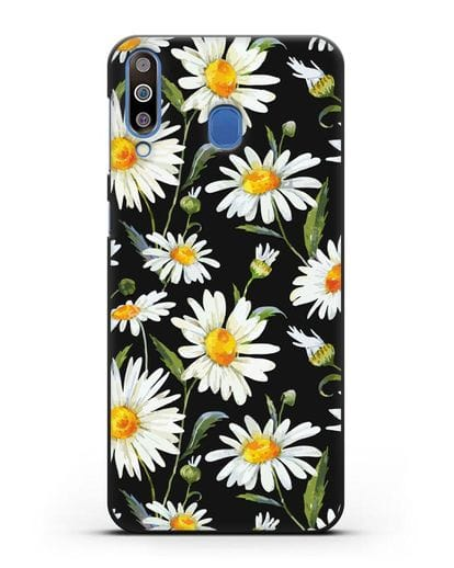 Чехол Ромашки силикон черный для Samsung Galaxy M30 [SM-M305F]