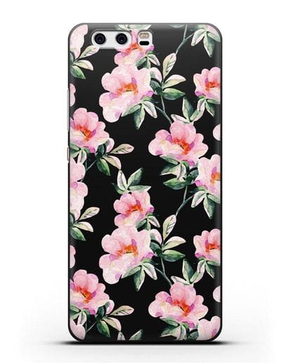 Чехол Цветы шиповника силикон черный для Huawei P10 Plus