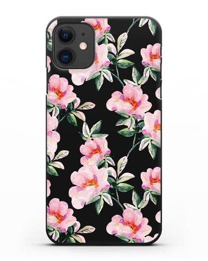 Чехол Цветы шиповника силикон черный для iPhone 11