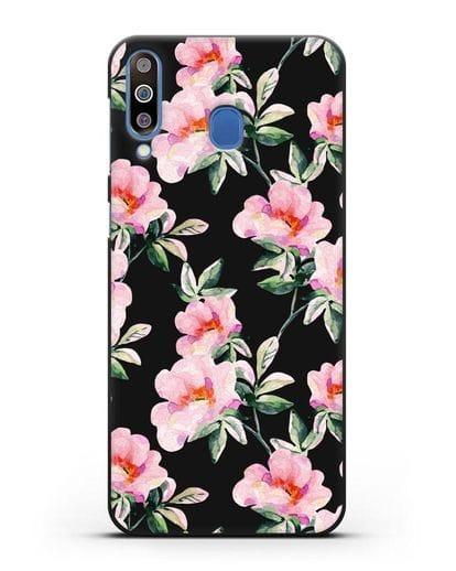 Чехол Цветы шиповника силикон черный для Samsung Galaxy M30 [SM-M305F]