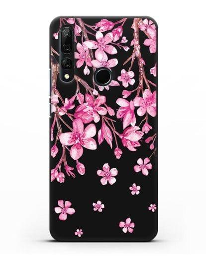 Чехол Цветущая сакура силикон черный для Honor 9X