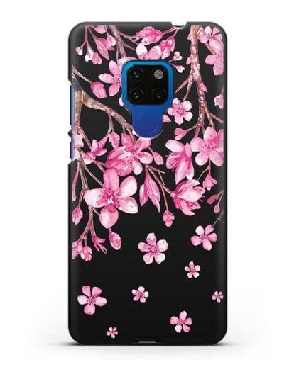 Чехол Цветущая сакура силикон черный для Huawei Mate 20