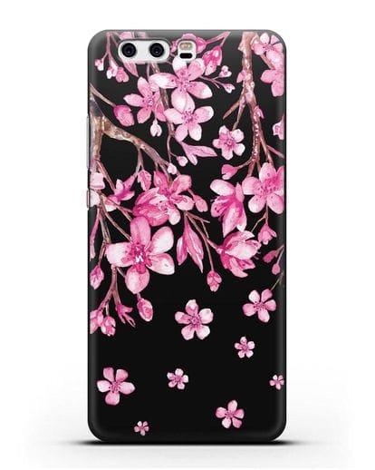Чехол Цветущая сакура силикон черный для Huawei P10 Plus