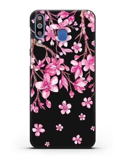 Чехол Цветущая сакура силикон черный для Samsung Galaxy M30 [SM-M305F]